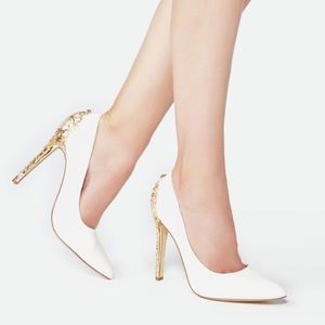 Shoes - White and gold heels